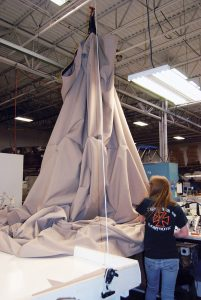 T-top boat cover being custom made